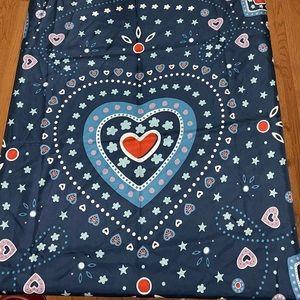 Coach Blue Western Heart Print Silk Square Scarf